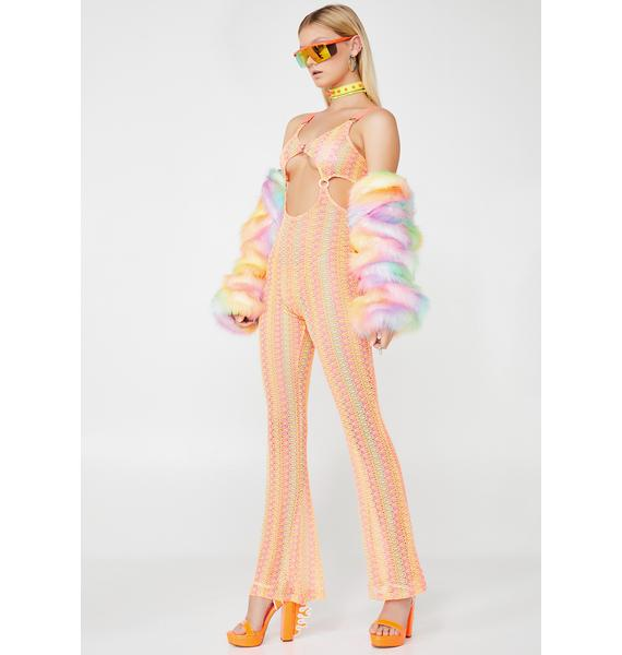 Fluorescent Wind Crochet Jumpsuit