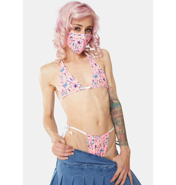 Cats Got The Cream 90s Butterfly Lingerie And Mask Set