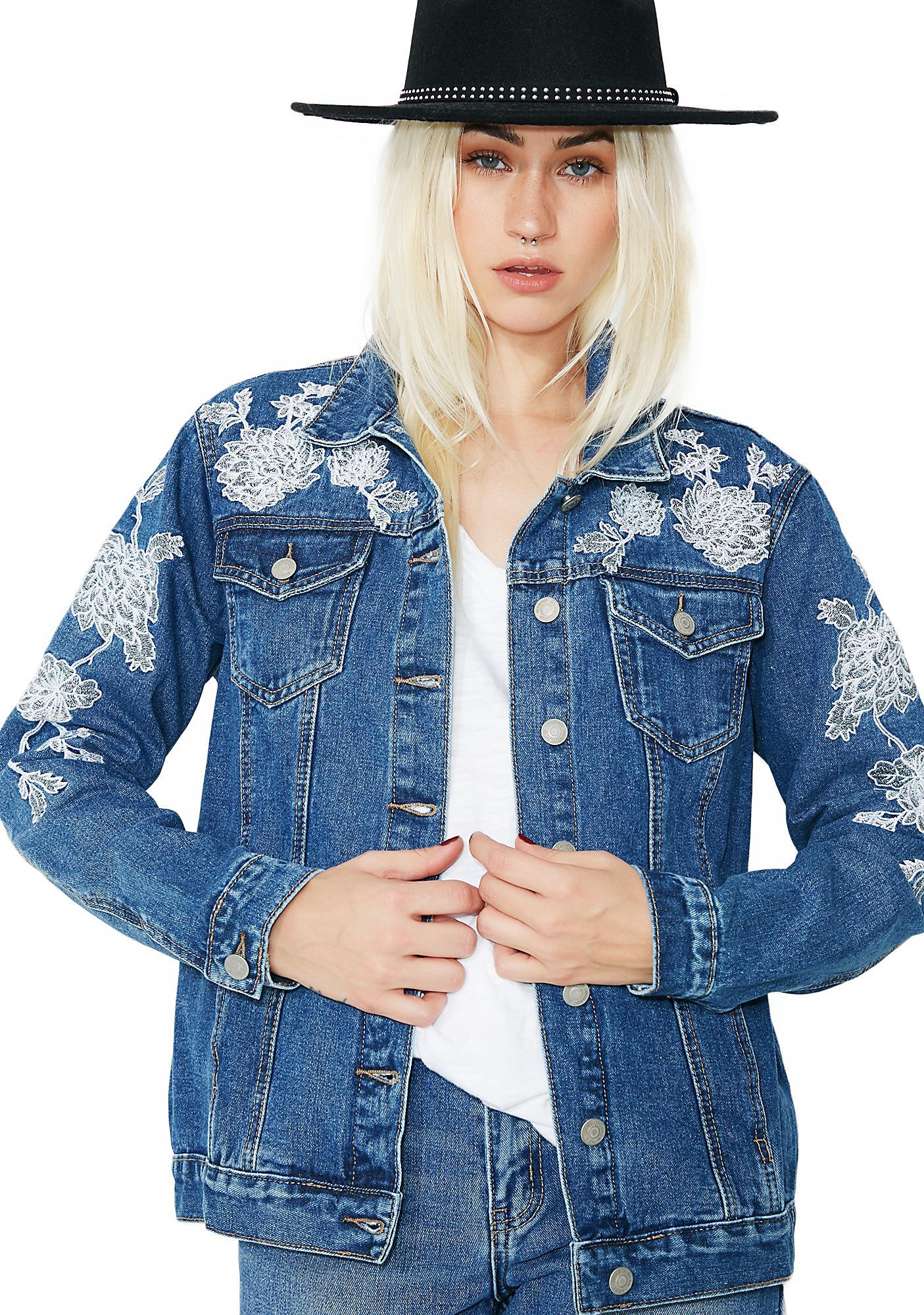Glamorous Desert Floral Denim Jacket