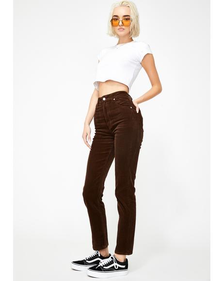 Brown Cord Dusters Skinny Pants