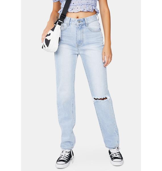 Momokrom Light Wash Straight Leg Denim Jeans