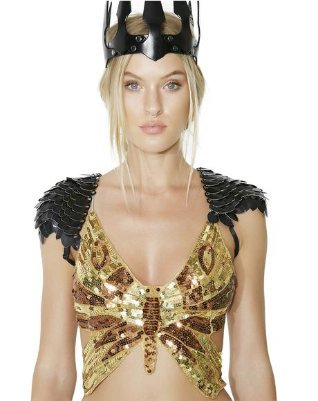Gilded Metamorphosis Sequin Butterfly Top