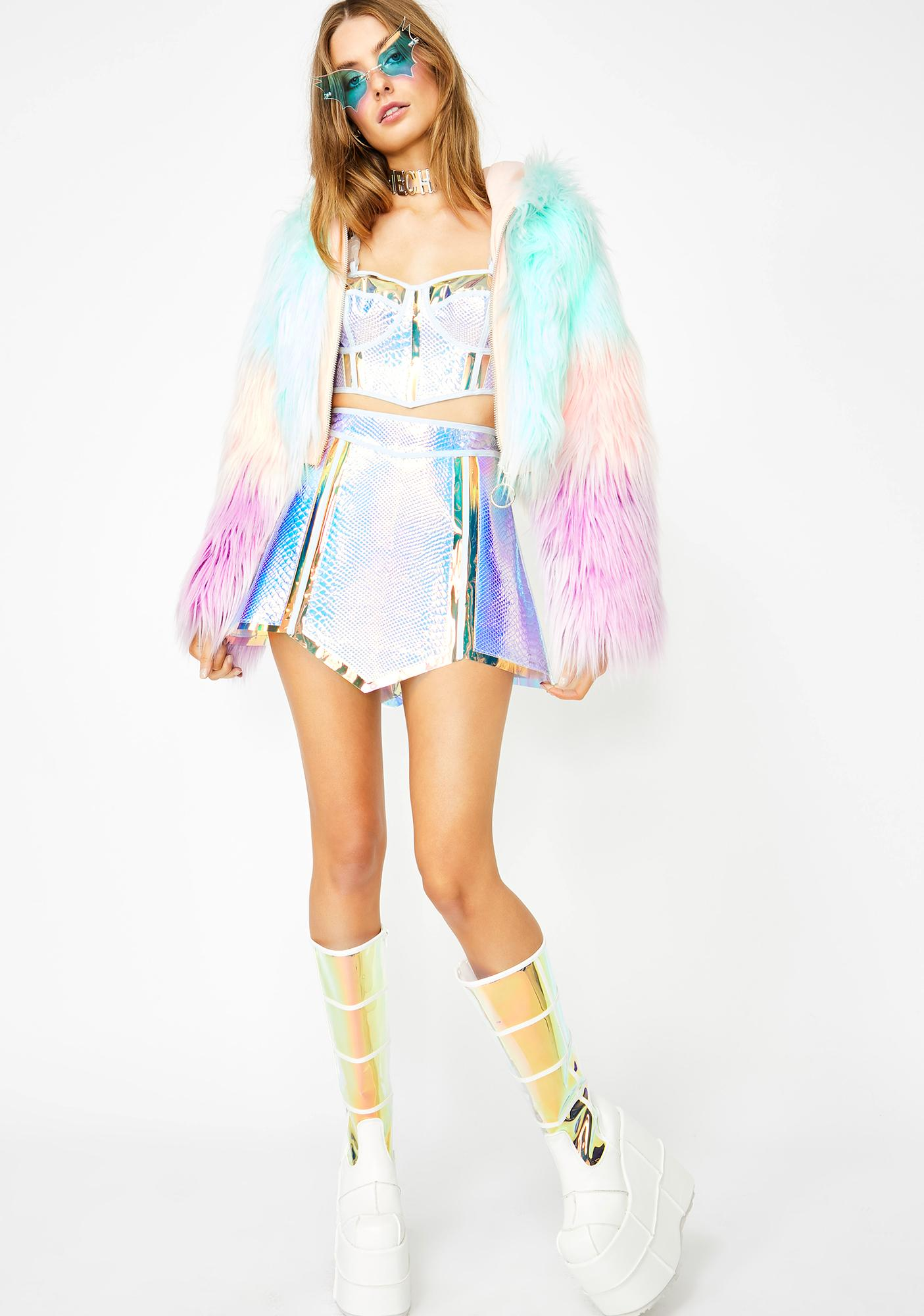 Club Exx Opulent Empress Hologram Skirt