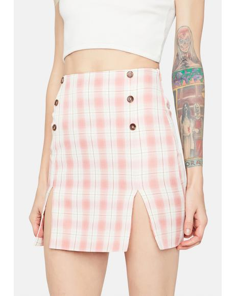 Just Peachy Gingham Button Waist Mini Skirt