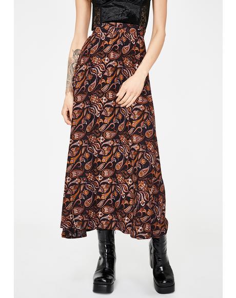 Lourdes Paisley Midi Skirt