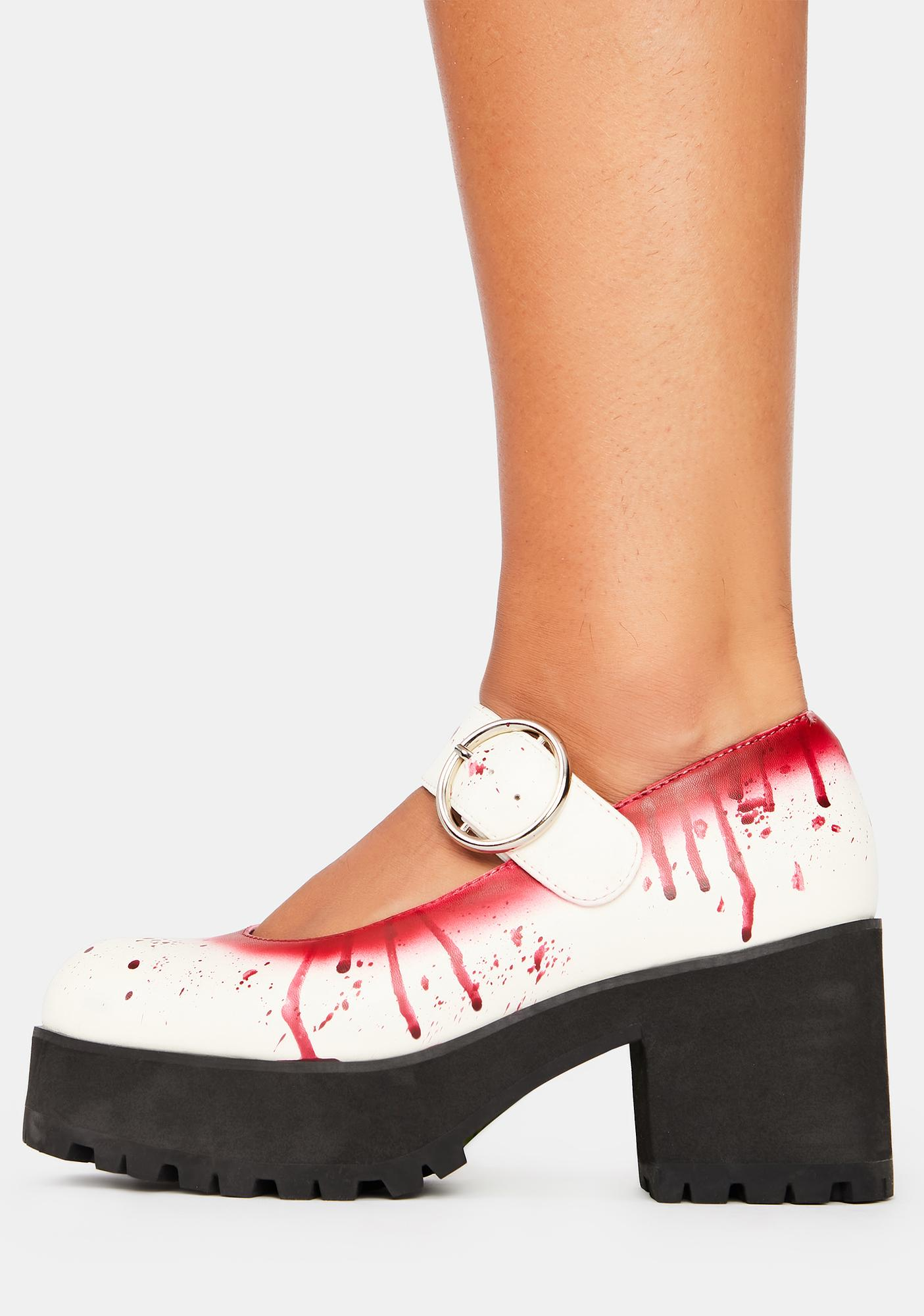 Trickz N' Treatz Total Bloodbath Platform Mary Janes