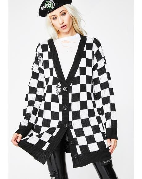 Squared Up Checkered Cardigan
