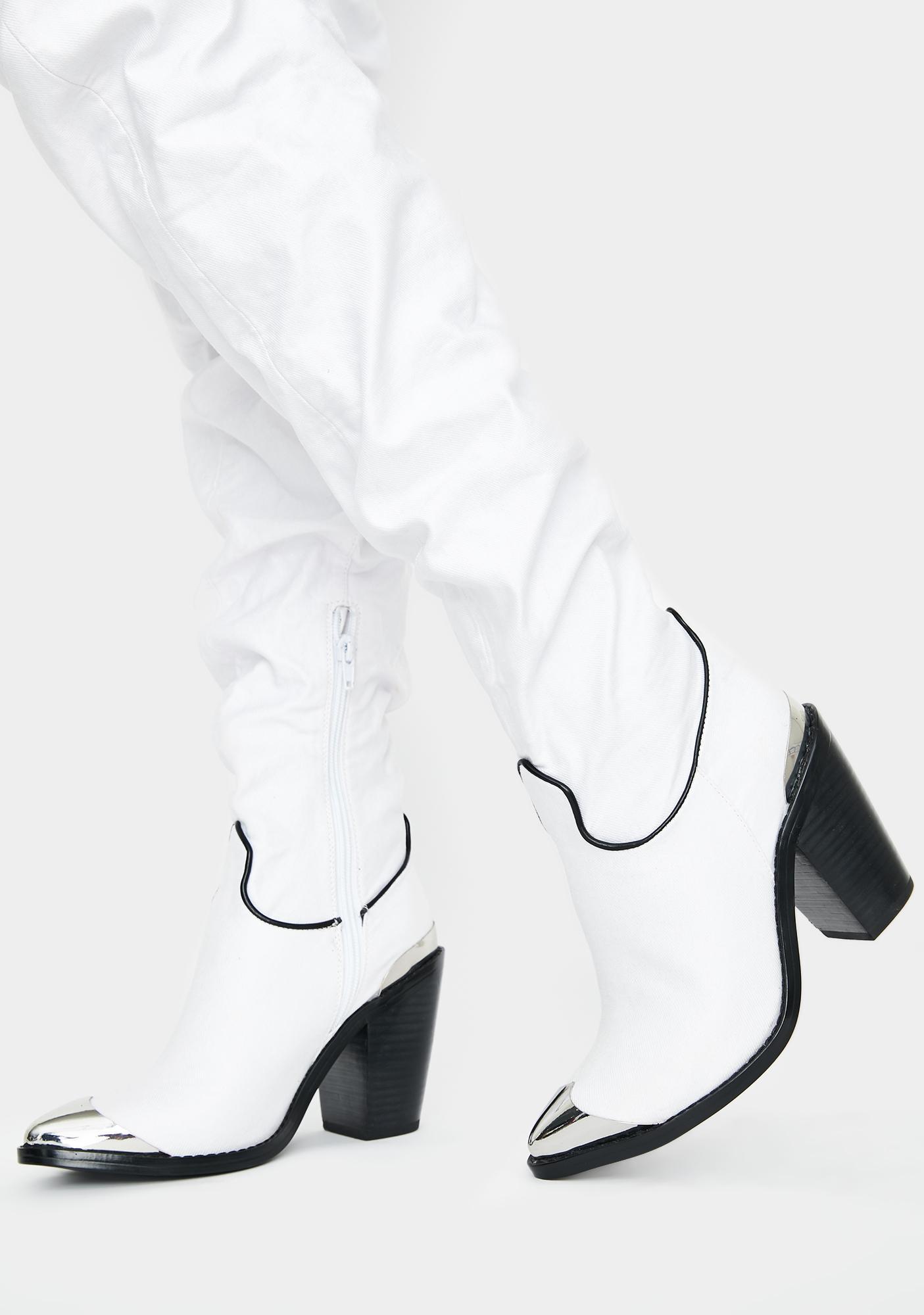 Club Exx Denim District Thigh High Boots