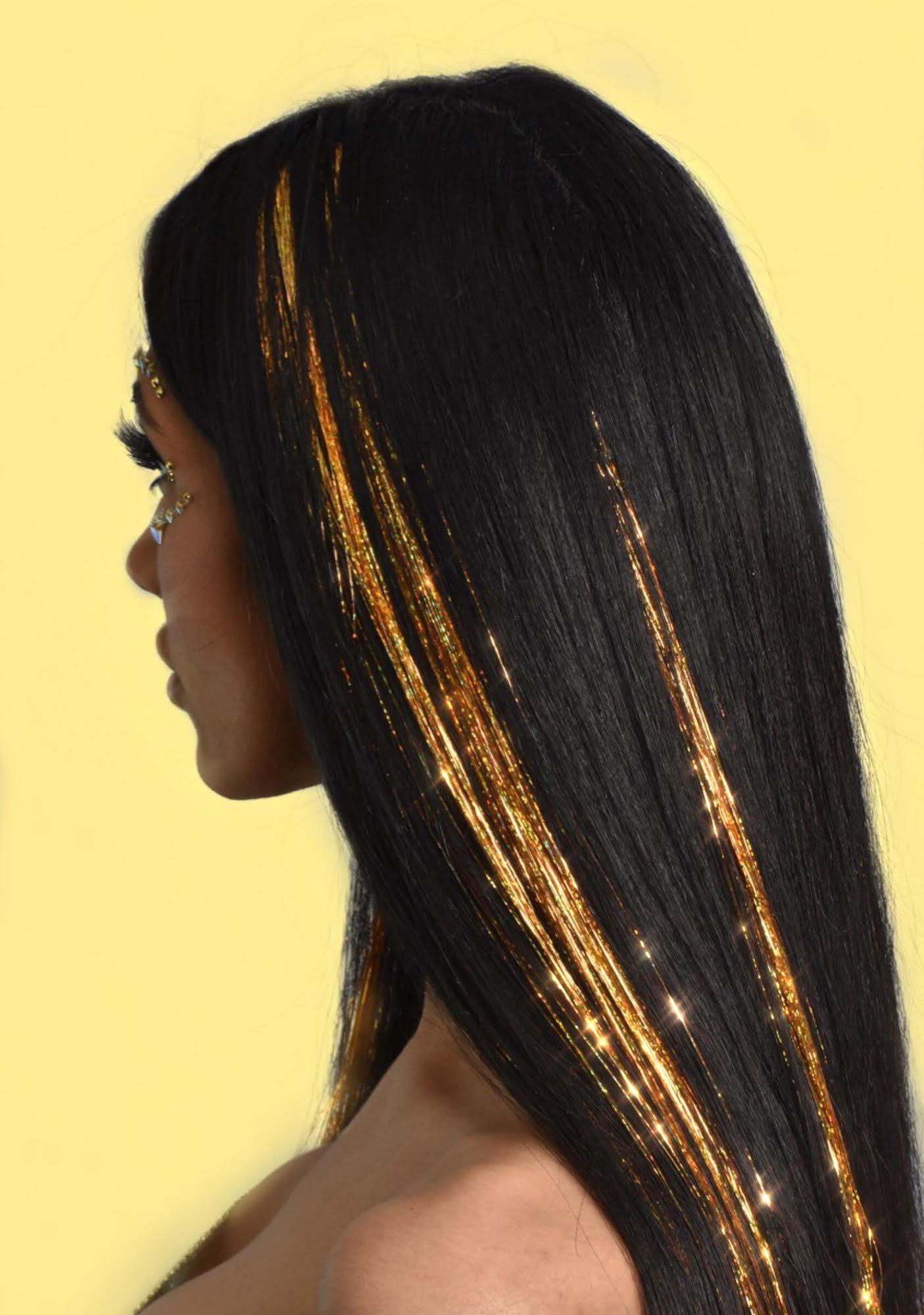 Lunautics Success Gold Holo Hair Tinsel Clip In Extensions