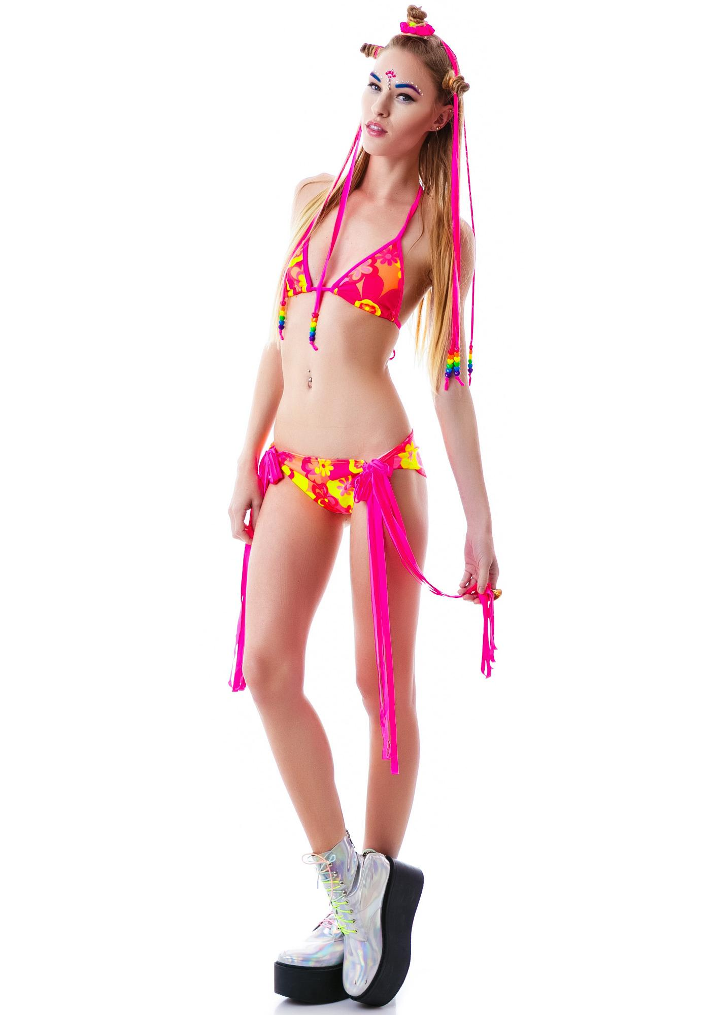 J Valentine Go Go Gidget Fringe Bikini Set
