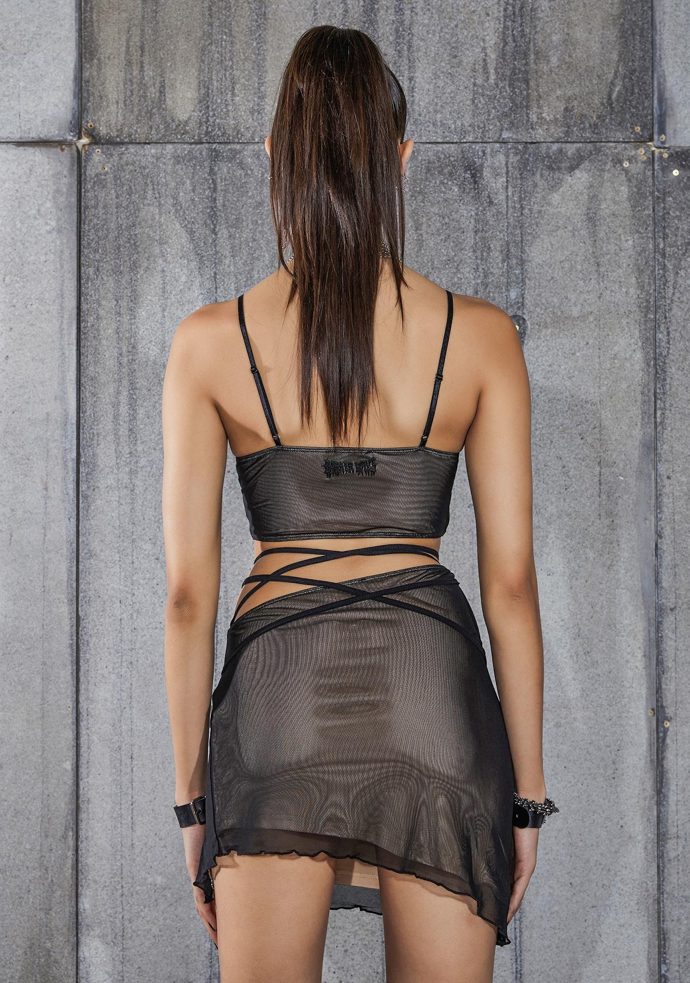 DARKER WAVS Snare Mesh Overlay Cut-Out Buckle Skirt Set