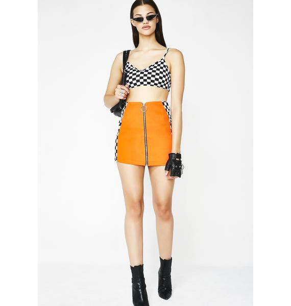 LOVE TOO TRUE Orange Check Mini Skirt