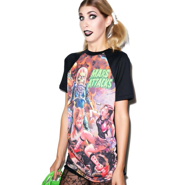 Kreepsville 666 Mars Attacks Sin City Skinner Raglan T Shirt