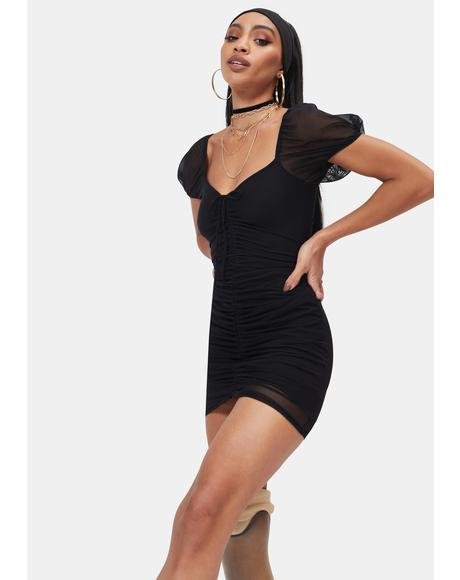 Noir 3 In The AM Ruched Mini Dress