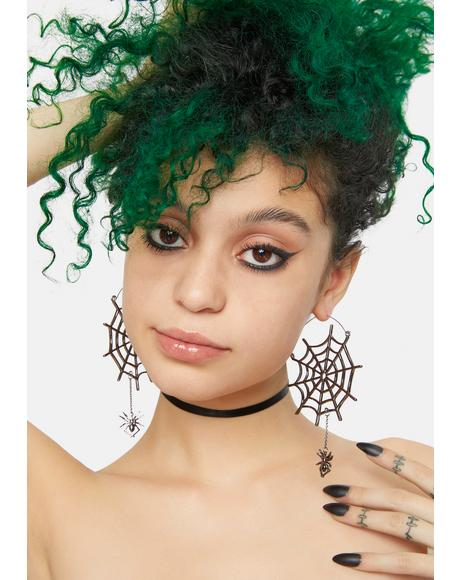Fearless Arachnid Spider Web Hoop Earrings