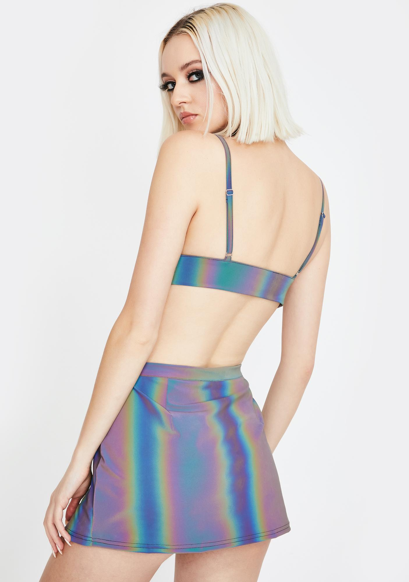 Club Exx Spectral Frequency Reflective Buckle Skirt