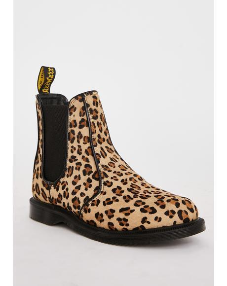 Flora Leopard Chelsea Boots