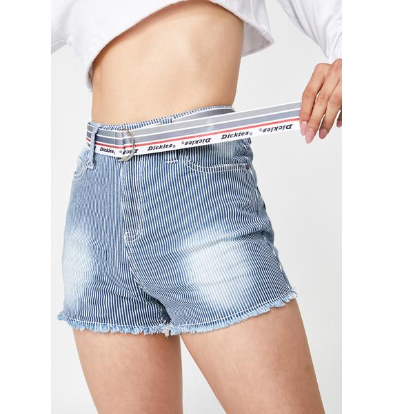 Dickies Girl High Rise Fray Hickory Shorts