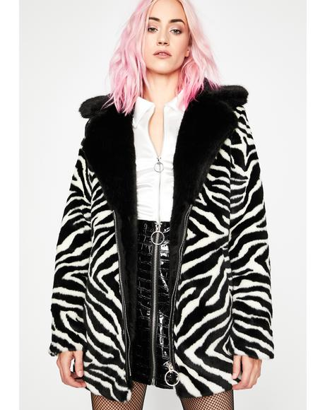 Earned My Stripes Zebra Coat