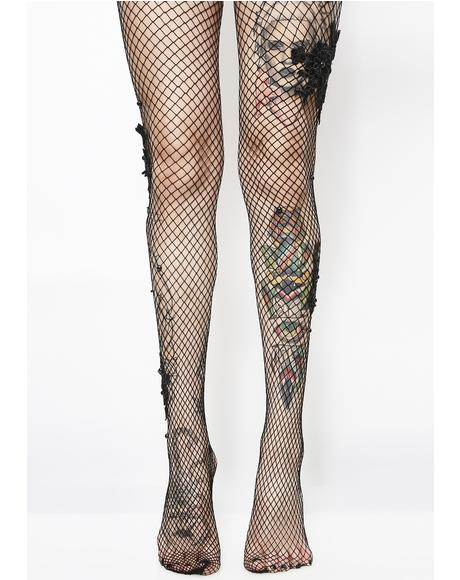 Belladonna Bae Applique Fishnets