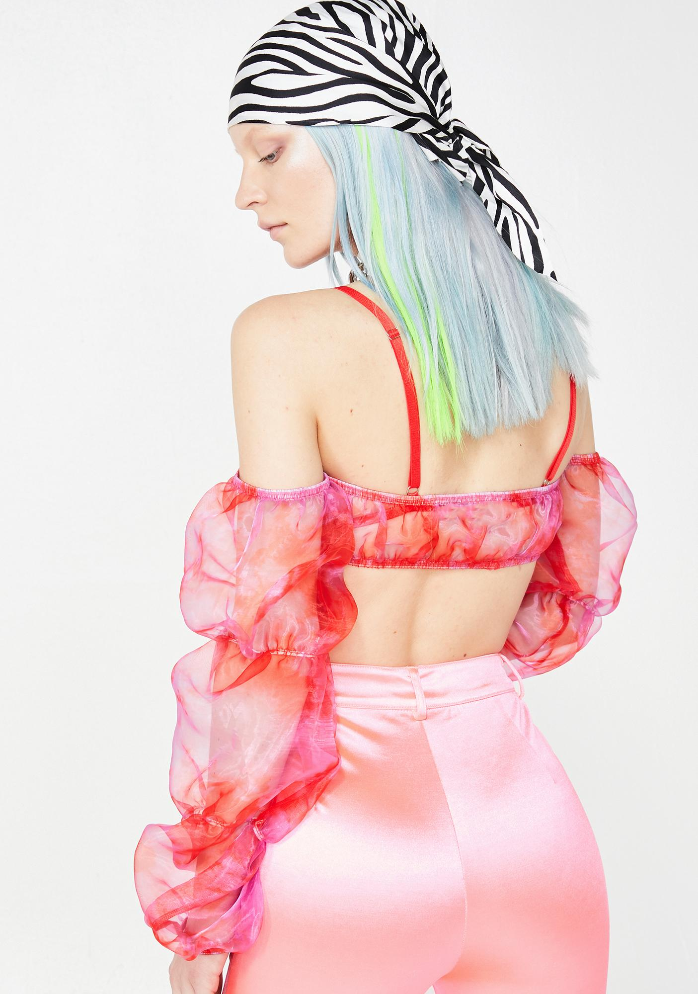 Jaded London Strawberry Bubble Sheer Crop Top