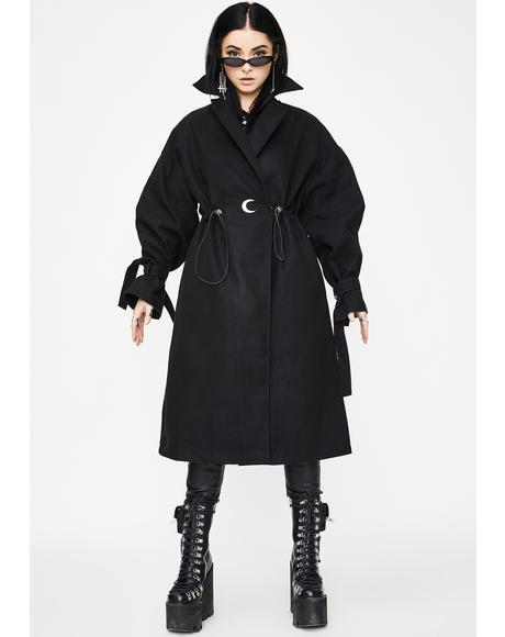 Lumbar Drawstring Long Coat