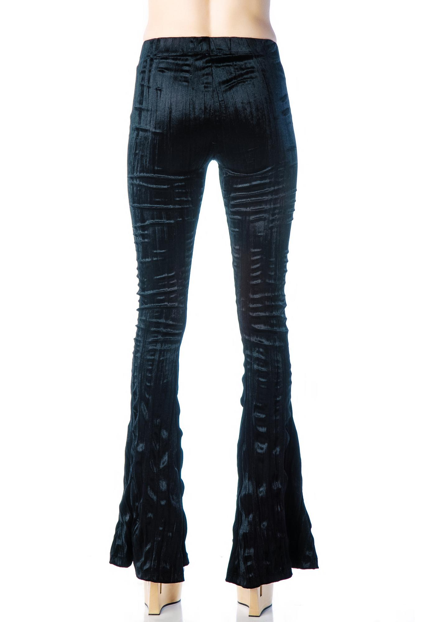 Lip Service Boot Cut Velvet Lace Up Leggings