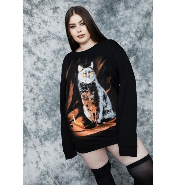 dELiA*s by Dolls Kill She's Purr Evil Oversized Graphic Tee