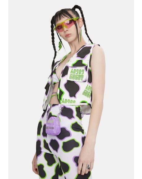 Cow Print Utility Vest
