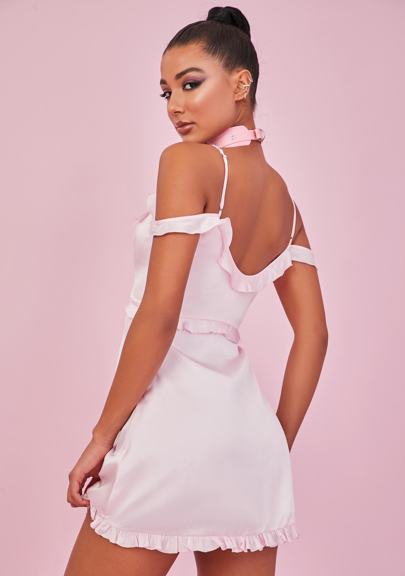 Sugar Thrillz Blush Holy Alimony Satin Dress
