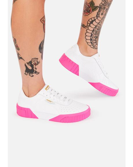 Pink Sole Cali Leather Sneakers