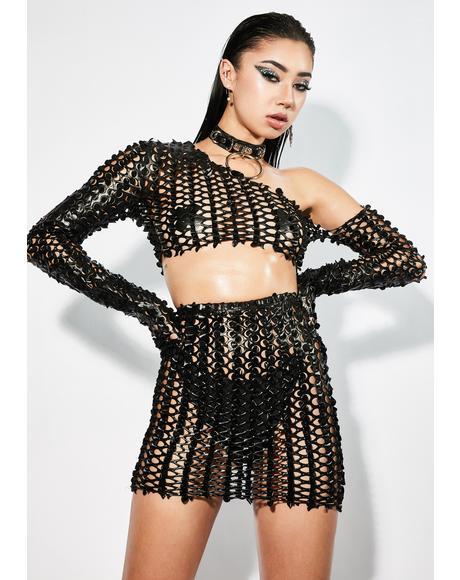 Dark Dazzle Blvd Textured Skirt Set