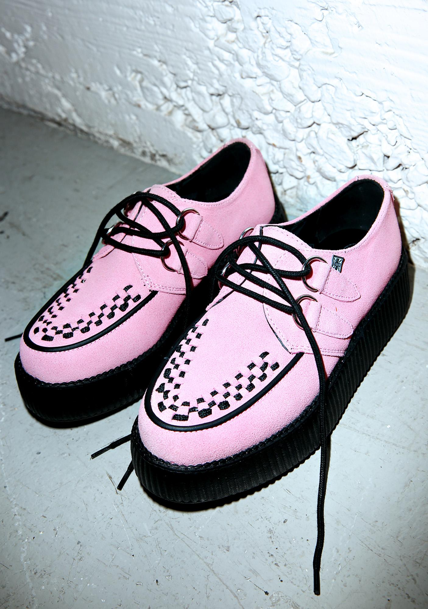 T.U.K. Baby Pink Suede Mondo Creepers