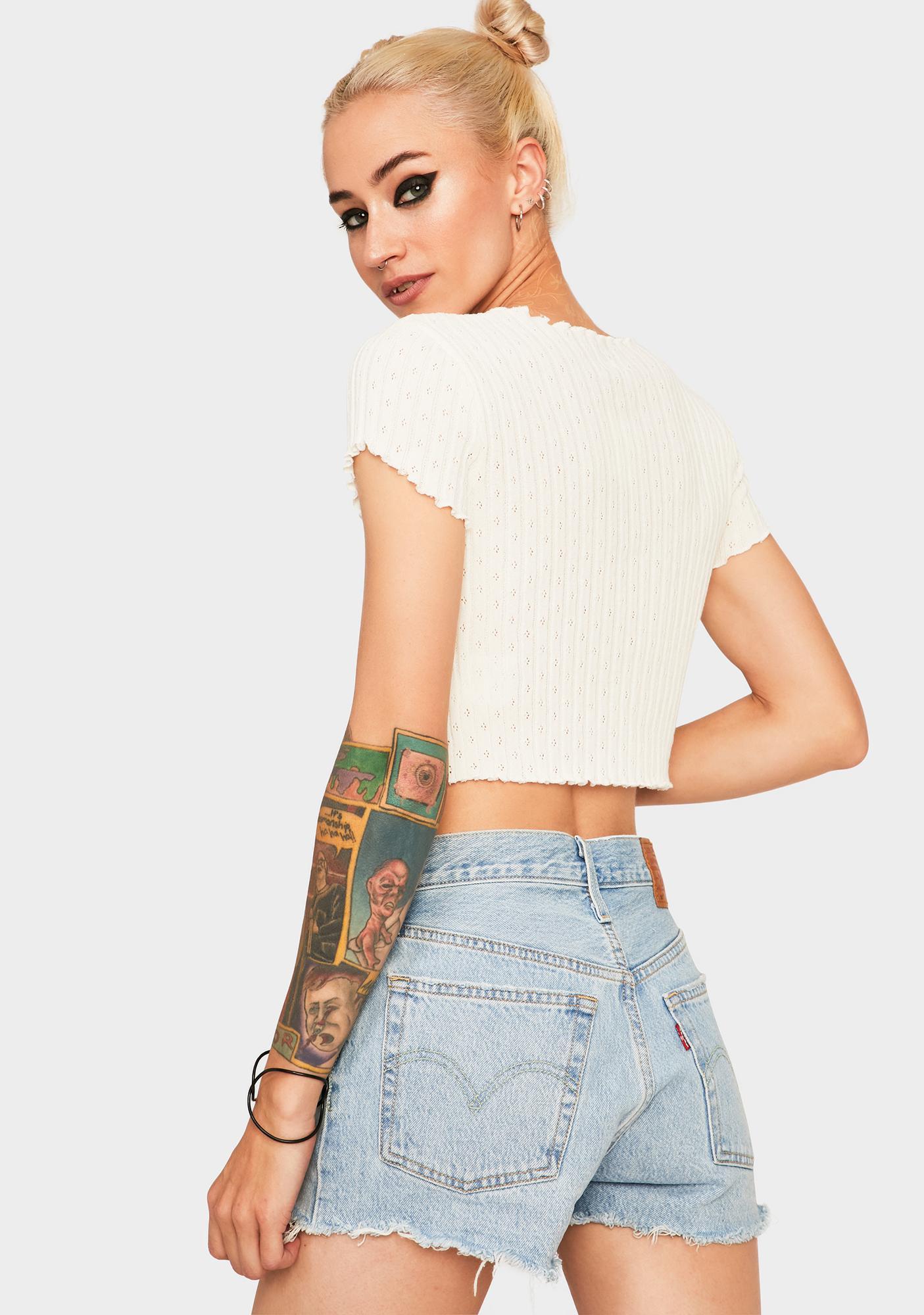 BDG Ivory Pointelle Sweater Tee