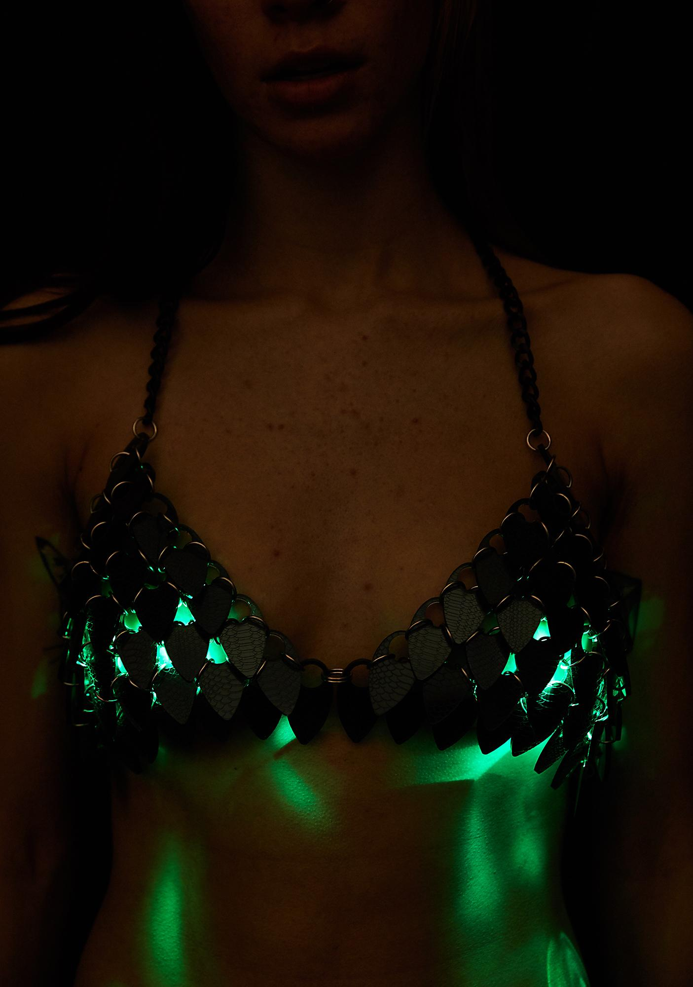 Electric Candy Couture Dragon Scale Light-Up Bra