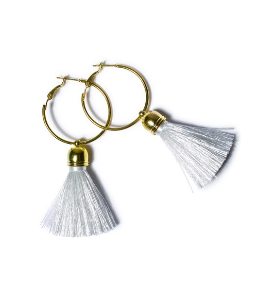 Suzywan Deluxe Harper Hoop Tassel Earrings