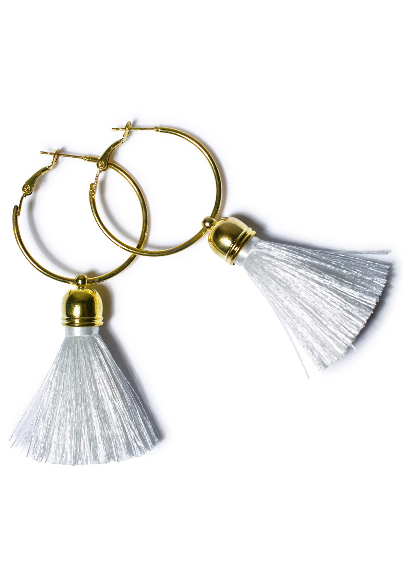 Suzywan Deluxe Harper Hoop Tassel Earrings