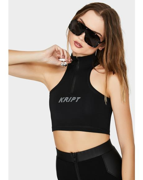TK Reflective Racer Crop Top