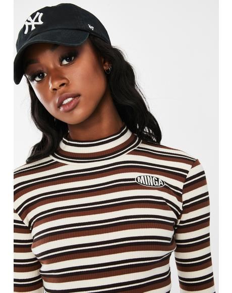 Earth Striped Ribbed Top