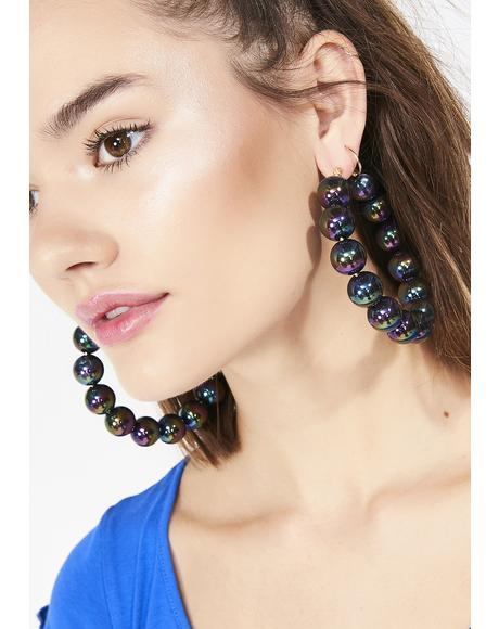 Ink Love Beads Hoop Earrings