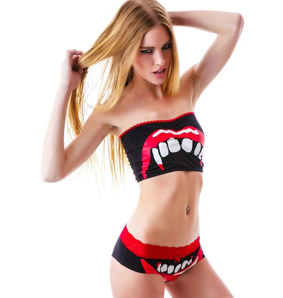 Too Fast Bite Me Fangs Rock On Bandeau Set