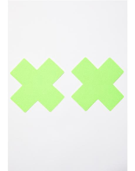 Neon Green Cross Pasties