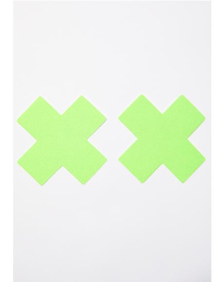 Neon Green Cross Pasties