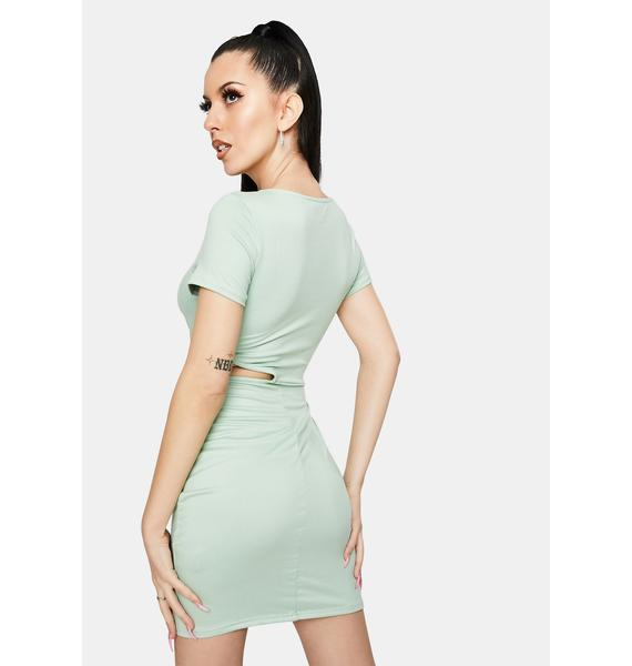 Sage Give It Your All Cutout Mini Dress