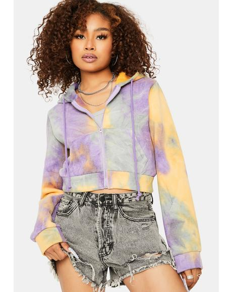 Always in Clutch Tie Dye Zip Up Hoodie