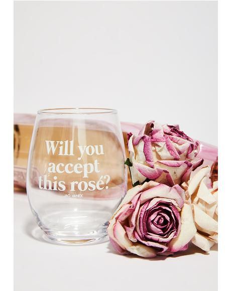 Rose Ever After Wine Glass