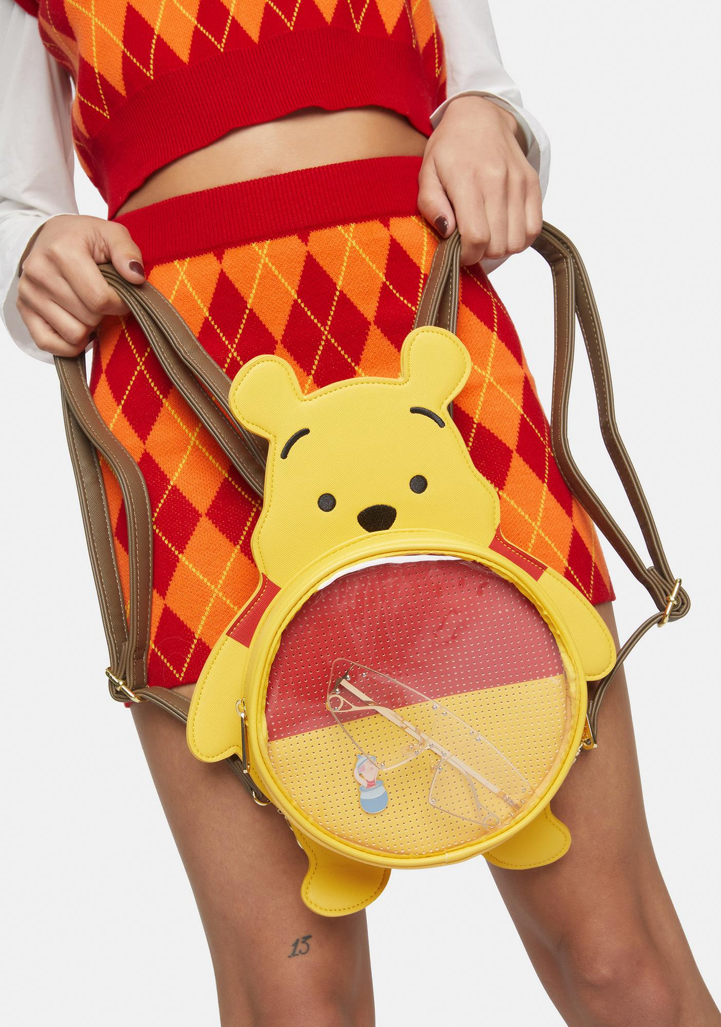 Loungefly Disney Winnie The Pooh Pin Trader Convertible Backpack