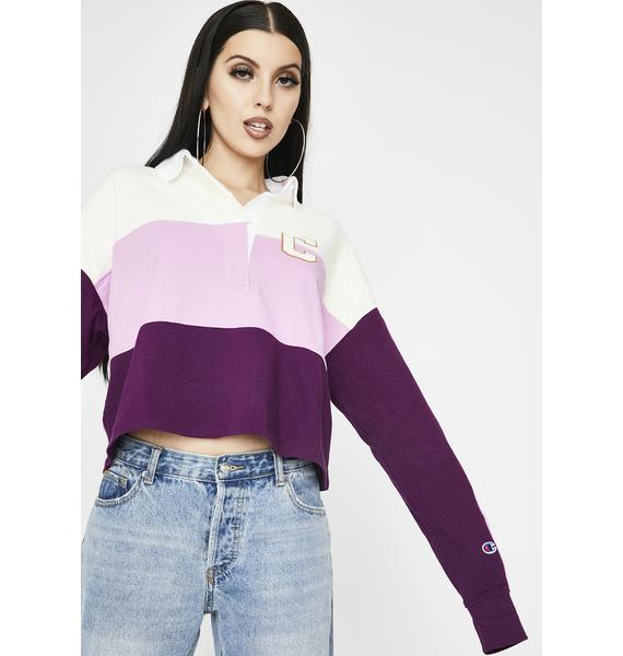 Champion Purple Rugby Cropped Tee