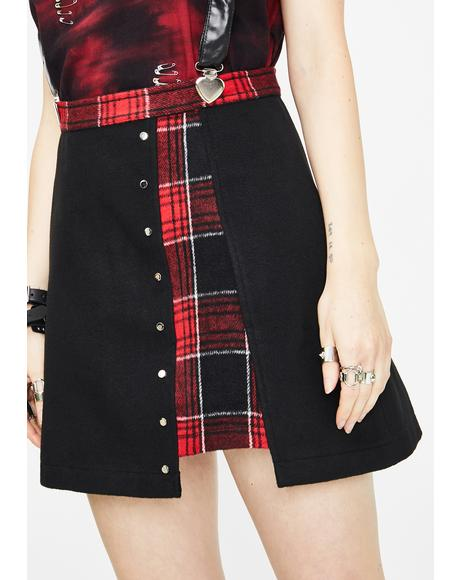 Plaid Joint Over Skirt