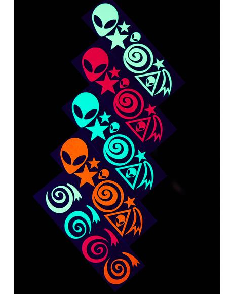 Blacklight Alien Body Stickers